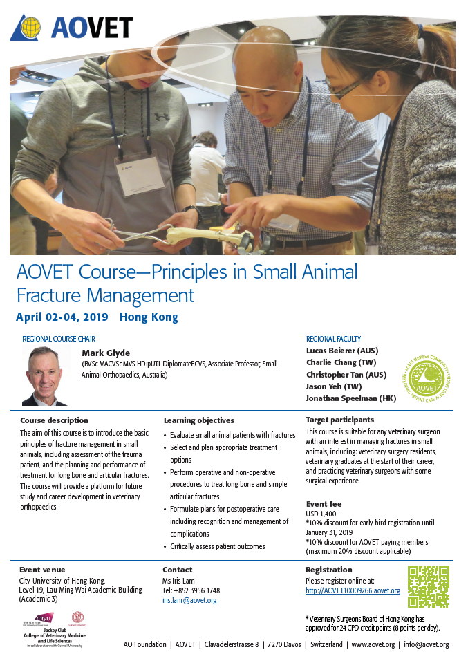 AOVET Course—Principles in Small Animal Fracture Management